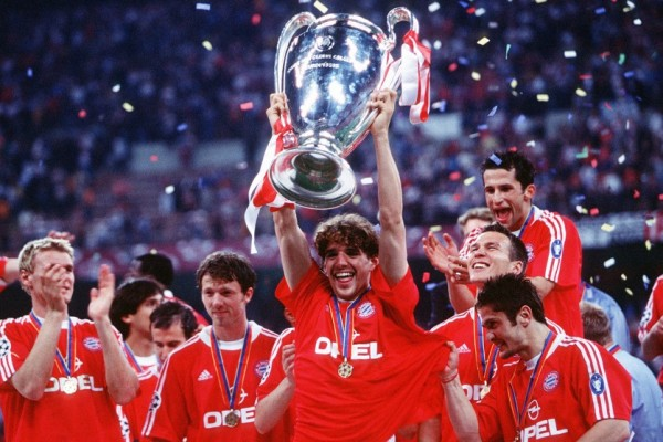 Owen Hargreaves, aged 20 here, celebrating Bayern's UEFA Champions League victory.