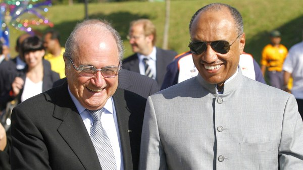 Sepp Blatter (left) with one-time friend Mohamed bin Hammam.